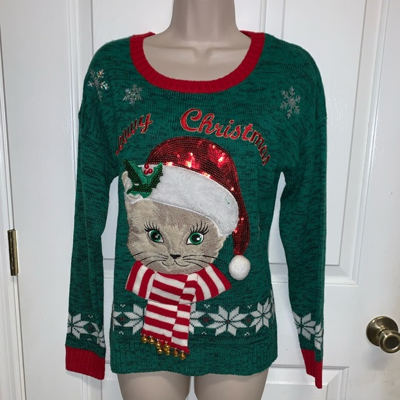 Ugly Christmas Sweater Meowy Christmas Size: M NWT